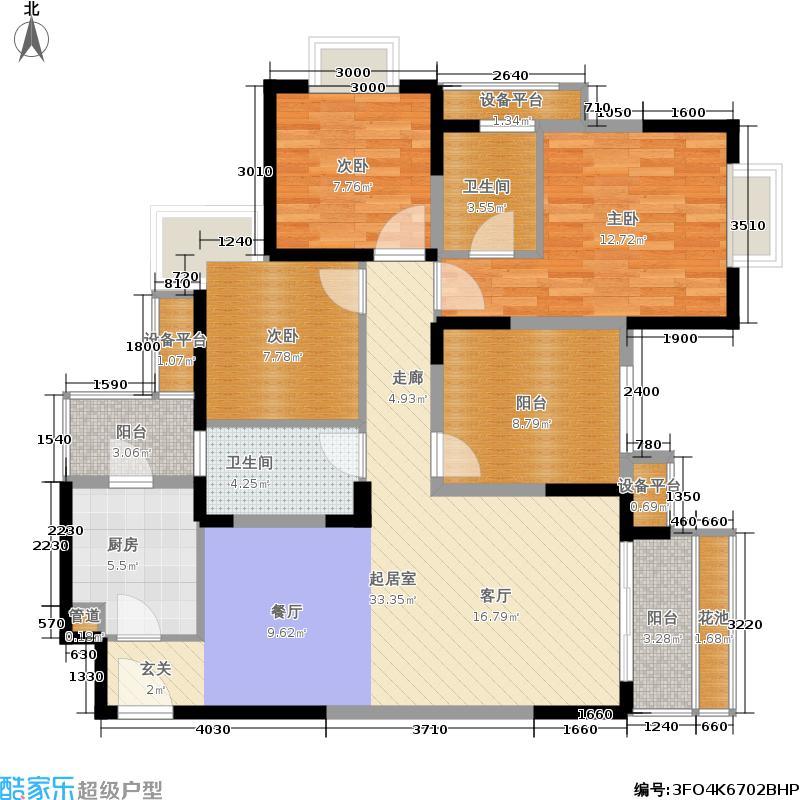 卓锦城(锦江)117.05㎡卓锦城户型图红郡B3户型图(1/2张)户型3室2厅2卫