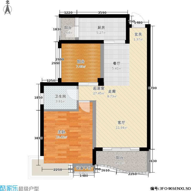 保利花园76.70㎡保利花园户型图二期5号楼3-13层F3户型1室2厅1卫1厨(6/6张)户型10室