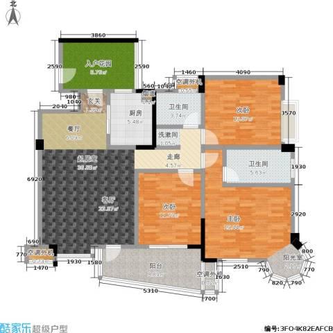 西城龙庭3室0厅2卫1厨129.00㎡户型图
