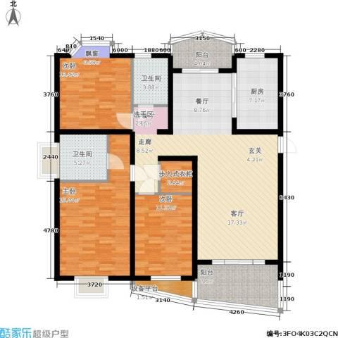 欣晟家园3室1厅2卫1厨116.08㎡户型图