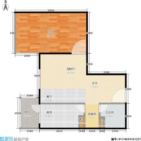 甘露家园1室1厅1卫1厨63.00㎡户型图