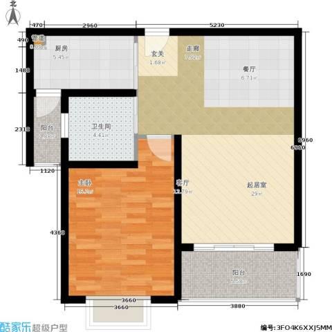 明中龙祥家园1室0厅1卫1厨61.61㎡户型图