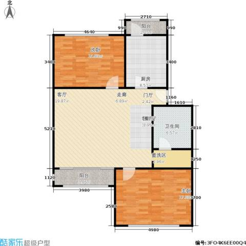 新静安都市2室1厅1卫1厨96.00㎡户型图