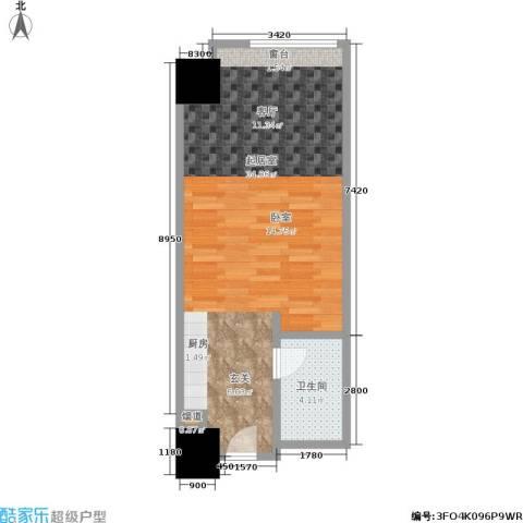 敏捷国际公寓1卫0厨58.00㎡户型图