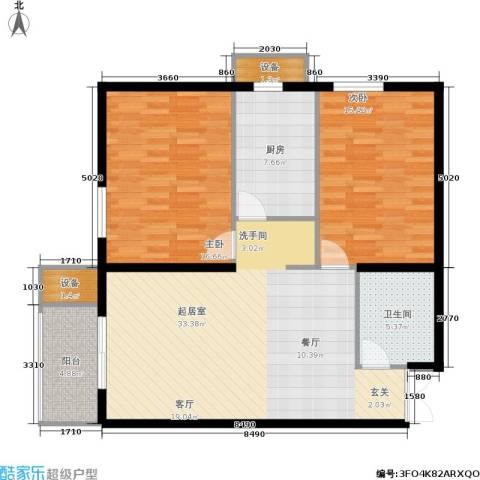 上洋国际2室0厅1卫1厨92.00㎡户型图