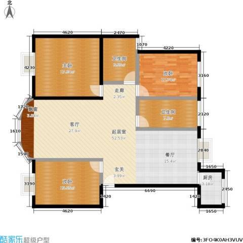 仙霞大郡3室0厅2卫1厨125.00㎡户型图