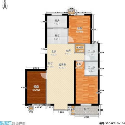 北里洋房3室0厅2卫1厨128.00㎡户型图