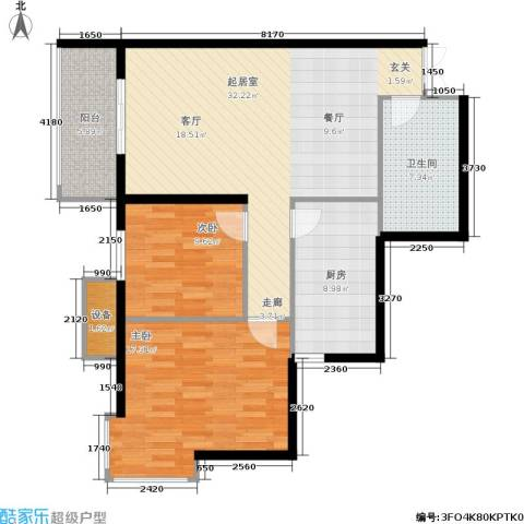上洋国际2室0厅1卫1厨90.00㎡户型图