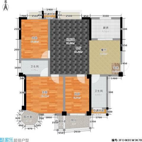 西城龙庭3室0厅2卫1厨122.00㎡户型图