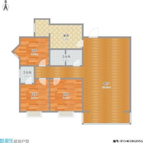 海佳云顶3室1厅2卫1厨88.00㎡户型图