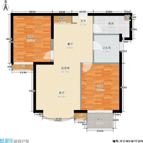 虹口现代公寓2室0厅1卫1厨95.00㎡户型图