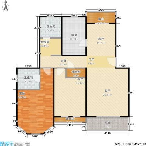 成事高邸1室2厅2卫1厨117.62㎡户型图
