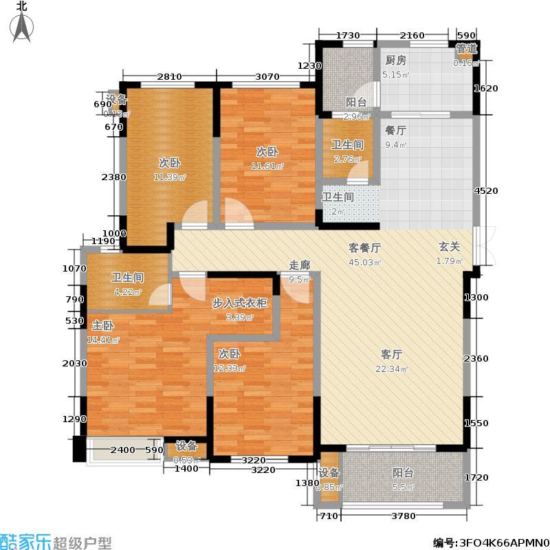 建发金沙里D户型4室1厅2卫1厨