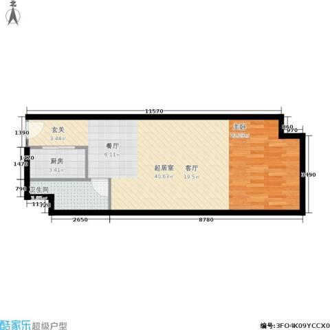 长宁馥邦1卫1厨53.00㎡户型图
