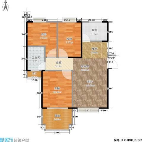 东方新城3室0厅1卫1厨85.00㎡户型图