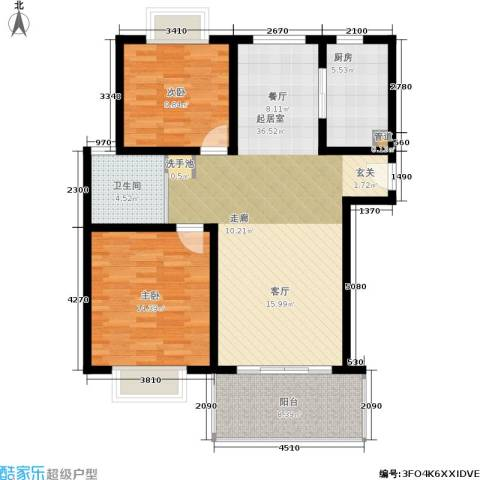 明中龙祥家园2室0厅1卫1厨90.00㎡户型图