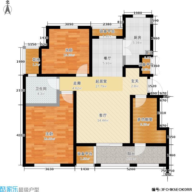 中景水岸93.00㎡22#B2户型2室2厅1卫