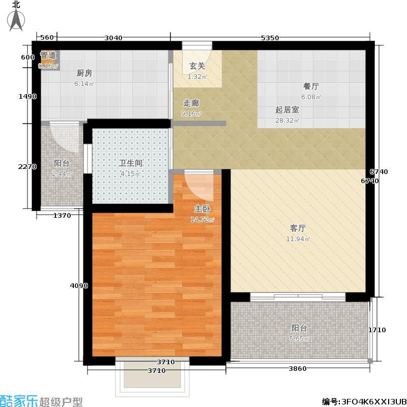 明中龙祥家园70.00㎡1室2厅1卫户型