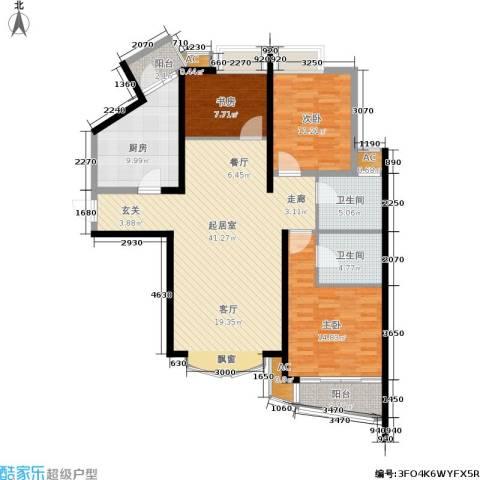 虹口现代公寓3室0厅2卫1厨117.00㎡户型图