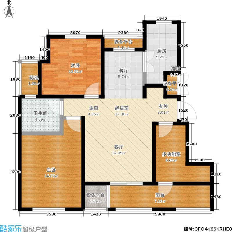 中景水岸93.00㎡23#B2户型2室2厅1卫