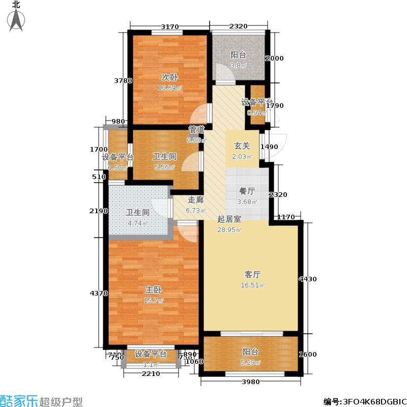 中景水岸90.00㎡22#、25#01室B3户型图2室2厅1卫1厨户型2室2厅1卫