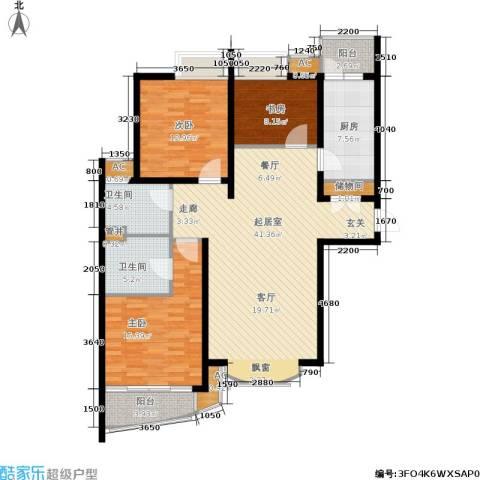 虹口现代公寓3室0厅2卫1厨120.00㎡户型图