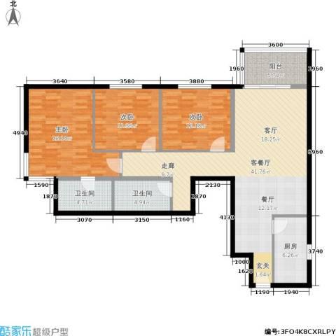 电子城小区3室1厅2卫1厨118.00㎡户型图