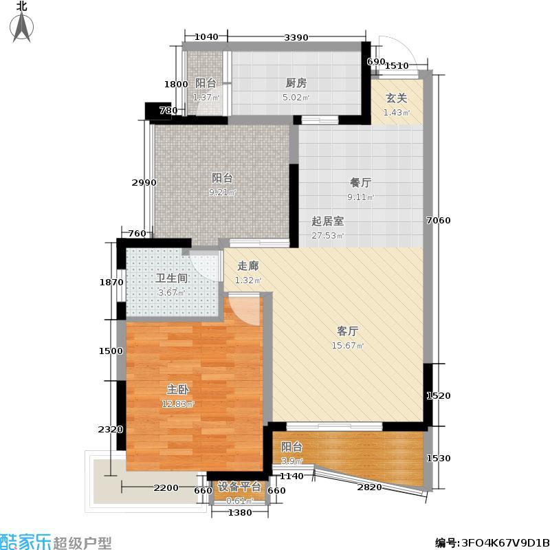 保利花园76.22㎡保利花园户型图一期2号楼标准层F3户型1室2厅1卫1厨(1/1张)户型10室