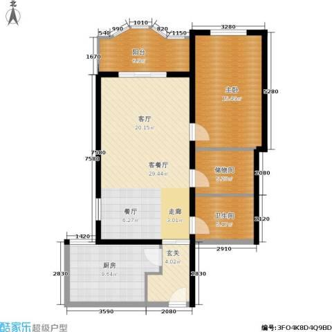 国际友谊花园1室1厅1卫1厨85.00㎡户型图