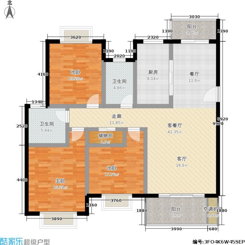 金衡公寓房型: 三房; 面积段: 120 -134 平方米; 户型