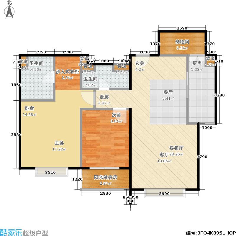 澳洲康都107.93㎡7楼4单元B户型两(2.5)室两厅两卫户型