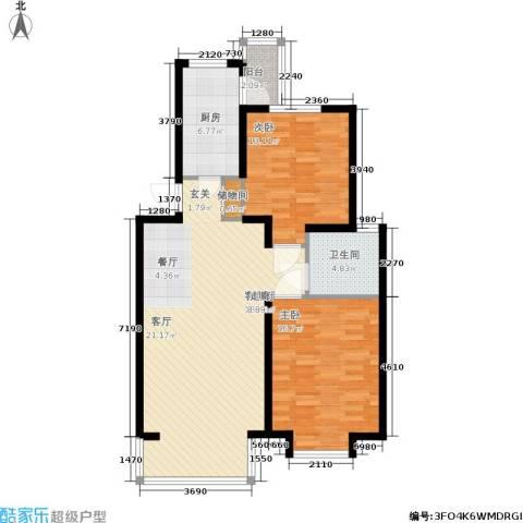春港丽园2室1厅1卫1厨80.89㎡户型图