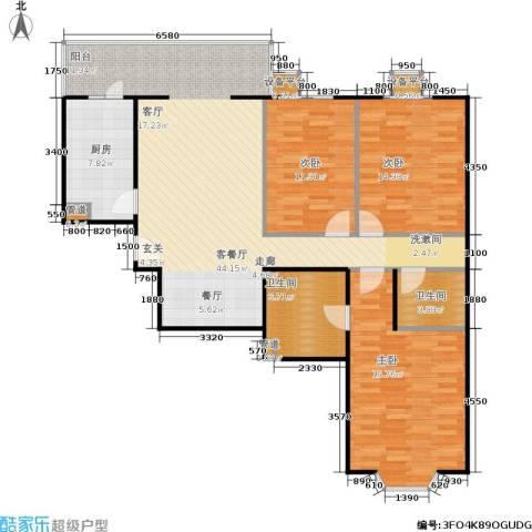 甘露家园3室1厅2卫1厨117.00㎡户型图