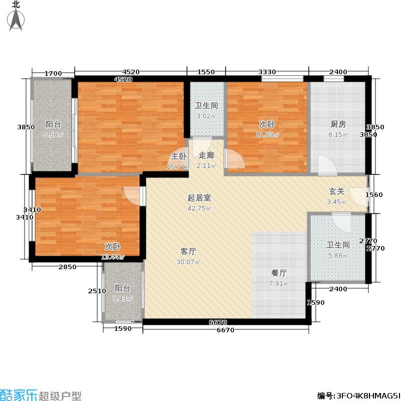 和祥苑121.34㎡3室2厅2卫1厨户型