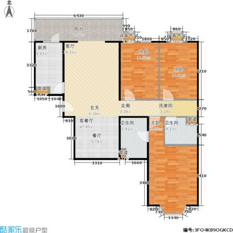 甘露家园3室1厅2卫1厨115.00㎡户型图