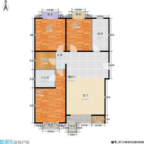 巧克力城3室1厅2卫1厨136.00㎡户型图