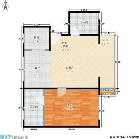 一品亦庄1室1厅2卫1厨89.00㎡户型图