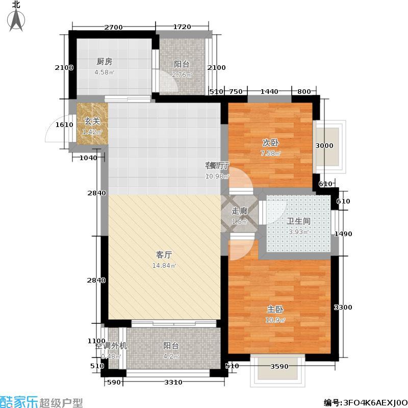 银锣湾A13户型2室1厅1卫1厨