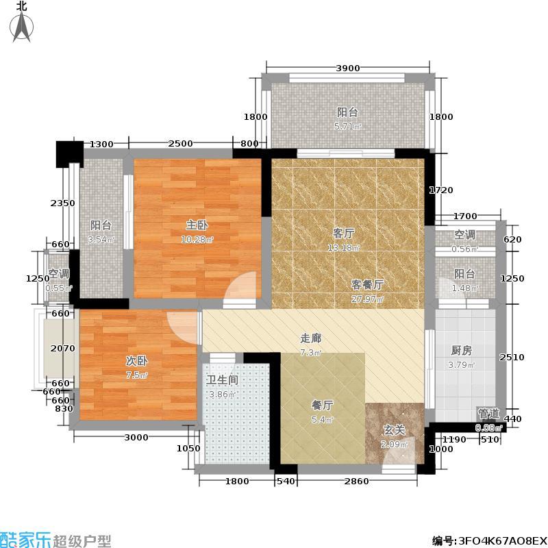 中国铁建青秀城82.00㎡中国铁建青秀城户型图12号楼A1户型2室2厅1卫1厨(1/6张)户型2室2厅1卫