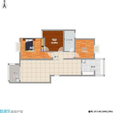 南湖春城2室1厅1卫1厨145.00㎡户型图