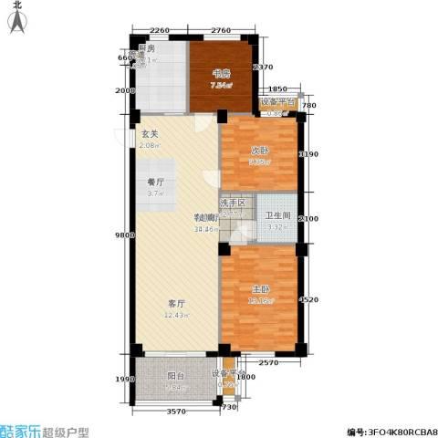 香槟水郡3室1厅1卫1厨93.00㎡户型图
