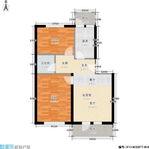 南太平庄小区2室0厅1卫1厨71.00㎡户型图