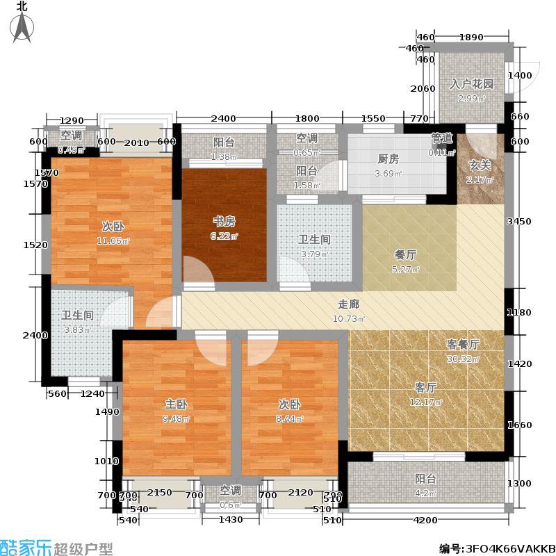 中国铁建青秀城117.00㎡中国铁建青秀城户型图一期D2户型4室2厅2卫1厨117.00㎡(1/2张)户型4室2厅2卫