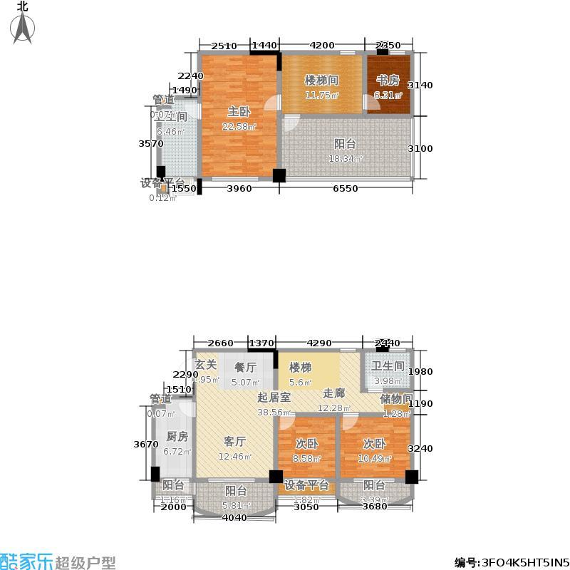 中华名园155.31㎡中华名园户型图H2跃4室2厅155.31平方米(2/6张)户型10室