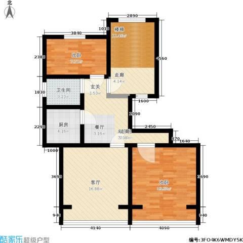 春港丽园2室1厅1卫1厨78.00㎡户型图