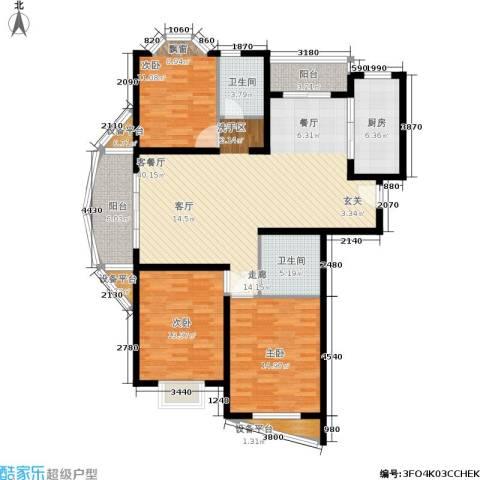 欣晟家园3室1厅2卫1厨111.00㎡户型图