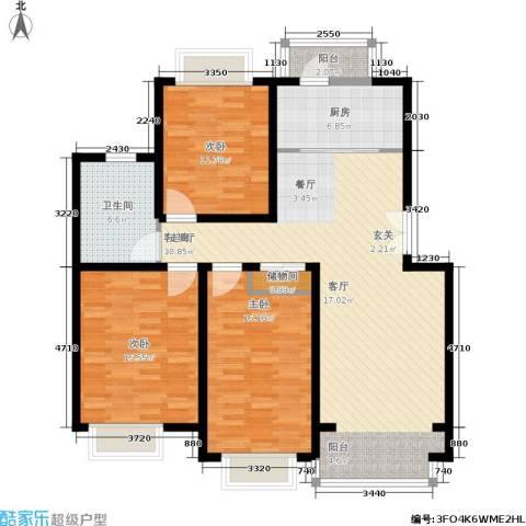 春港丽园3室1厅1卫1厨97.52㎡户型图