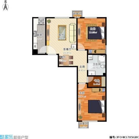北京城建・畅悦居3室1厅1卫1厨84.00㎡户型图