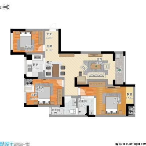 万和华府3室1厅2卫1厨119.00㎡户型图
