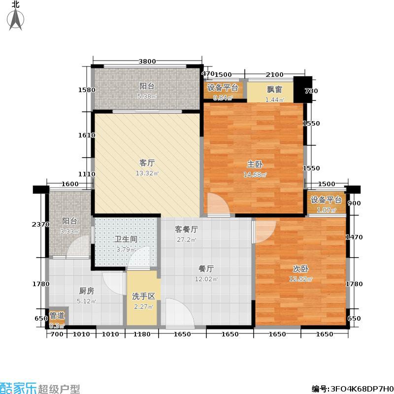 新里柏仕公馆3栋F1户型2室1厅1卫1厨